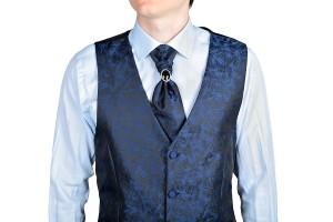 Dark Blue Men Wedding Vest Jacquard Fabric